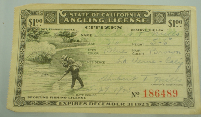 Antique fishing license the paper years antique lure for California state fishing license