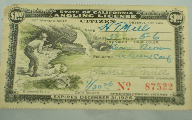 Antique fishing license the paper years antique lure for Where to buy california fishing license
