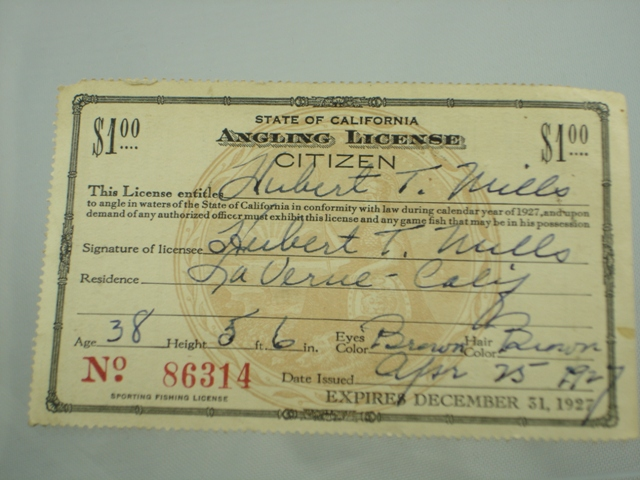 Antique fishing license the paper years antique lure for California 1 day fishing license