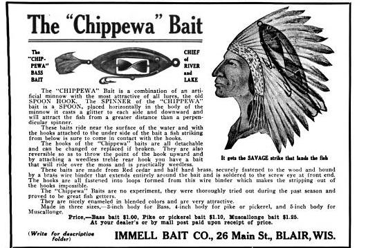 Chippewa Lure Ad Field and Stream February 1913